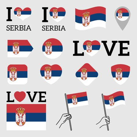 Flag of Serbia. Set of Vector Flags of Various Shapes. I Love Serbia. EPS Illustration. Isolated Background.