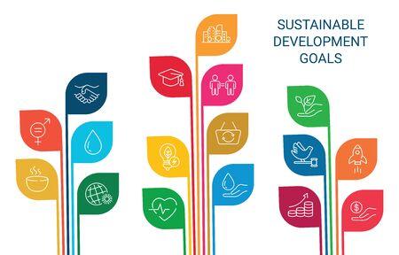 Icons Set Global Business, économie et marketing. Icônes De Style Linéaire. Objectifs de développement durable. Fond isolé blanc Vecteurs