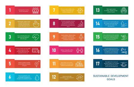 Icons Set Global Business, Economics and Marketing. Linear Style Icons. Sustainable Development Goals.White Isolated Background Ilustração