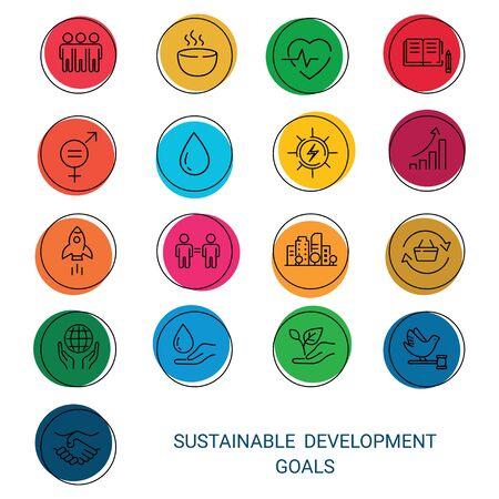 Icons Set Global Business, Economics and Marketing. Linear Style Icons. Sustainable Development Goals.White Isolated Background Illusztráció