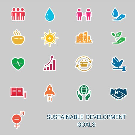 Icons Set Global Business, Economics and Marketing. Flat Style Icons. Sustainable Development Goals. Isolated Background