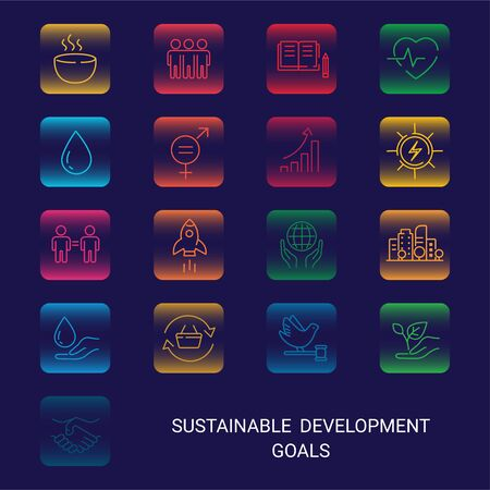 Icons Set Global Business, Economics and Marketing. Linear Style Icons. Sustainable Development Goals. Isolated Background Reklamní fotografie - 140645508