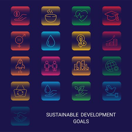 Icons Set Global Business, Economics and Marketing. Linear Style Icons. Sustainable Development Goals. Isolated Background