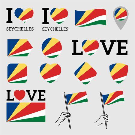 Flag of Seychelles. Set of Vector Flags of Various Shapes. I Love Seychelles. Vetores
