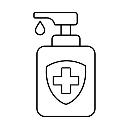Antibacterial Gel. Coronavirus, Epidemic. Vector Illustration Linear Style. Isolated Background