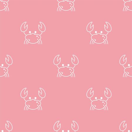 Crab. Vector Patterns in Linear style. Marine life, ocean, oceanology. Isolated Pattern for notebook, textile, packaging. 向量圖像