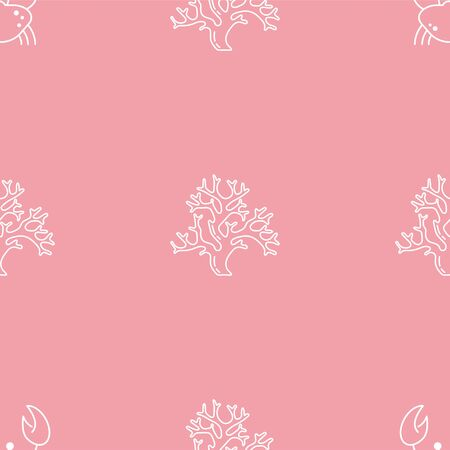 Crab and Coral. Colored Vector Patterns in Linear style. Marine life, ocean, oceanology. Isolated Pattern for notebook, textile, packaging.