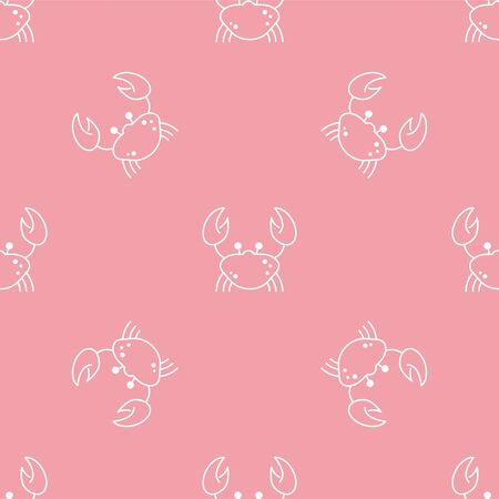 Crab. Vector Patterns in Linear style. Marine life, ocean, oceanology. Isolated Pattern for notebook, textile, packaging.