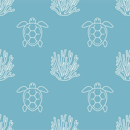 Sea turtle and Coral. Vector Patterns in Linear style. Marine life, ocean, oceanology. Isolated Pattern for notebook, textile, packaging. Ilustração