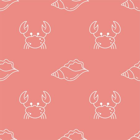 Crab and Shell. Vector Patterns in Linear style. Marine life, ocean, oceanology. Isolated Pattern for notebook, textile, packaging.