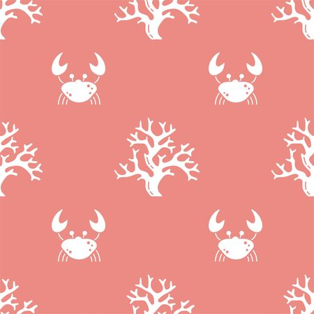 Crab and Coral. Colored Vector Patterns in Flat style. Marine life, ocean, oceanology. Isolated Pattern for notebook, textile, packaging.