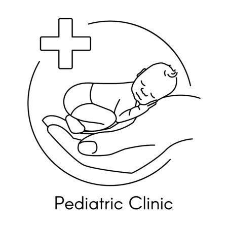 Newborn on Hand. Pediatric Clinic in a Linear Style. Vector Illustration. White Isolated Background. Child Care, Children Clinic.