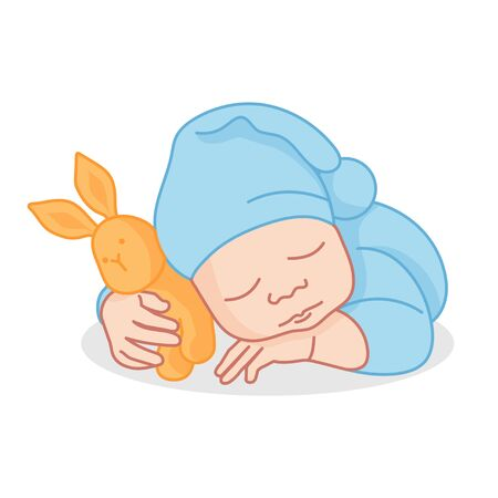 Sleeping Newborn. Pediatric clinic in Flat style. Colored Vector illustration. White isolated background. Baby care.