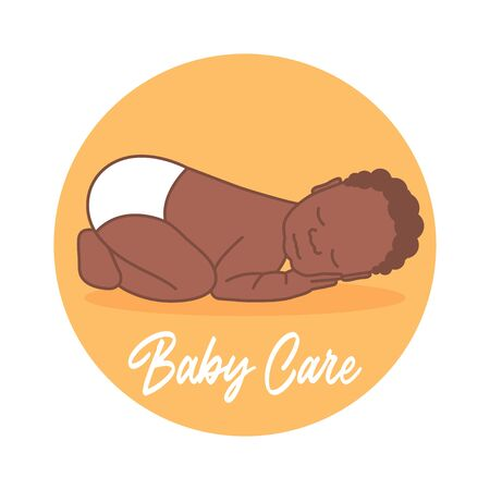 Sleeping Newborn. Black baby. Pediatric clinic  in a linear style. Colored Vector illustration. White isolated background. Baby care.