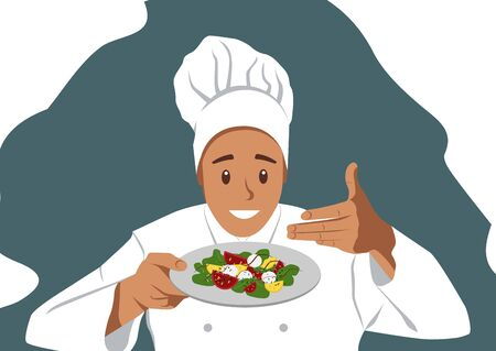 Smiling Chef is holding a Salad and sniffing him. Chef wearing Uniform and Hat. Vector illustration in Flat style. White Isolated Background
