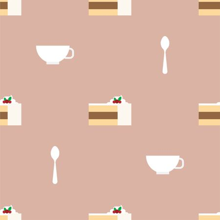Cake, Cup and Teaspoon. Dessert, Pastry, Restaurant. Colored Vector Patterns in a Flat style. Isolated Pattern for Design