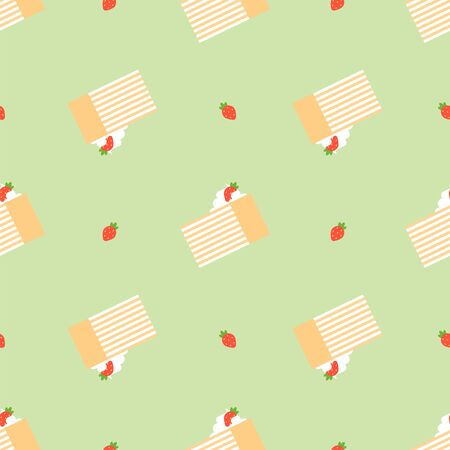 Cake and Berry. Dessert, Pastry, Restaurant. Colored Vector Patterns in a Flat style. Isolated Pattern for Design