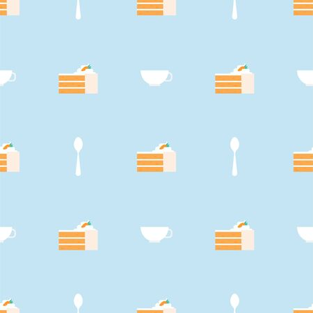 Carrot Cake, Cup and Teaspoon. Dessert, Pastry, Restaurant. Colored Vector Patterns in a Flat style. Isolated Pattern for Design