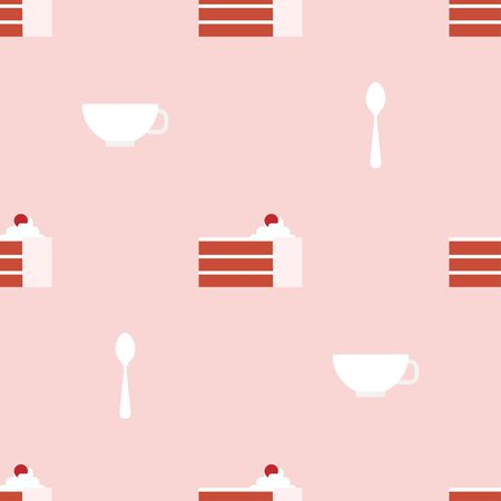Red Cake, Cup and Teaspoon. Dessert, Pastry, Restaurant. Colored Vector Patterns in a Flat style. Isolated Pattern for Design 向量圖像