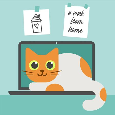 The note Work from Home. Home work environment. Cat and laptop. Business, Work, Study. Vector Illustration. Isolated Background