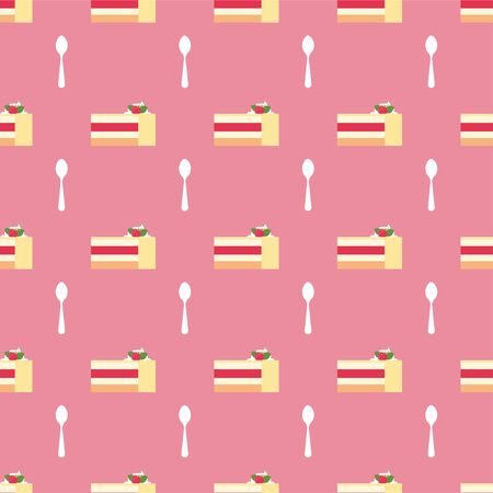 Raspberry cake. Slices of Cake. Dessert, Pastry, Restaurant. Colored Patterns in a Flat style. Isolated Pattern for Design