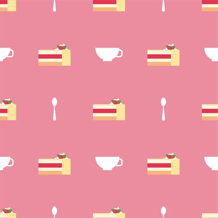 Raspberry cake. Slices of Cake. Dessert, Pastry, Restaurant. Colored Vector Patterns in a Flat style. Isolated Pattern for Design
