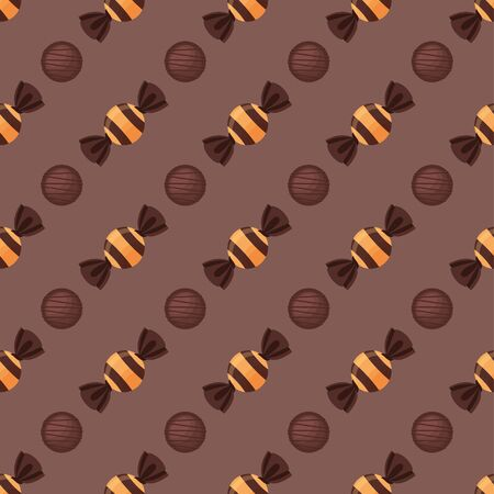 Chocolate candies. Colored Vector Patterns in Flat style. Isolated Pattern for Textiles, Napkins, Tablecloths, Wrapping paper