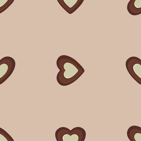 Heart shaped Chocolates. Colored Vector Patterns in Flat style. Isolated Pattern for Textiles, Napkins, Tablecloths, Wrapping paper