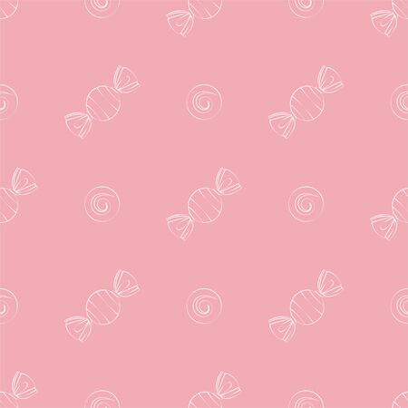 Candies, sweets. Colored Vector Patterns in Linear style. Isolated Pattern for Textiles, Napkins, Tablecloths, Wrapping paper
