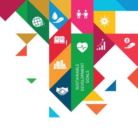 Icons Set Global Business, Economics and Marketing. Flat Style Icons. Sustainable Development Goals.White Isolated Background