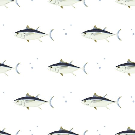 Tuna. Commercial Fish species. Colored Vector Patterns. Marine life, fishing, oceanology. Isolated Pattern for notebook, textile, packaging.