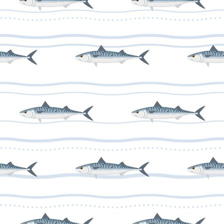 Mackerel. Commercial Fish species. Colored Vector Patterns. Marine life, fishing, oceanology. Isolated Pattern for notebook, textile, packaging. Vecteurs