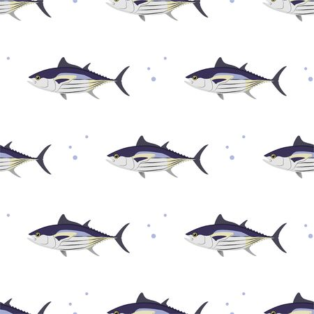 Tuna. Skipjack Tuna. Commercial Fish species. Colored Vector Patterns. Marine life, fishing, oceanology. Isolated Pattern for notebook, textile, packaging.