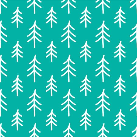 Spruce, Christmas Tree. Happy New Year and Christmas. Colored Vector Patterns in Flat style. Isolated Pattern for Design, Packaging, Covers, Cards