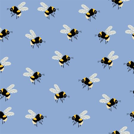 Cute Bumblebee. Colored Seamless Vector Patterns in Flat style. Isolated Pattern for notebook, textile, packaging.