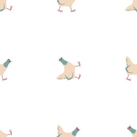 Cute Cartoon Hen, Chicken. Colored Seamless Vector Patterns in Flat style. Isolated Pattern for notebook, textile, packaging.