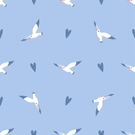 Cute Cartoon Seagull and Heart. Colored Seamless Vector Patterns in Flat style. Isolated Patterns for notebook, textile, packaging.