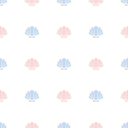 Seashell. Colored Vector Patterns in Flat style. Marine life, ocean, oceanology. Isolated Pattern for notebook, textile, packaging. 向量圖像