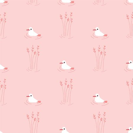 Cute Cartoon Seagull. Colored Seamless Vector Patterns in Flat style. Isolated Patterns for notebook, textile, packaging. Illustration