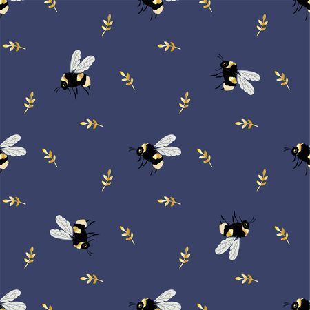 Cute Bumblebee and plant. Colored Seamless Vector Patterns in Flat style. Isolated Pattern for notebook, textile, packaging.