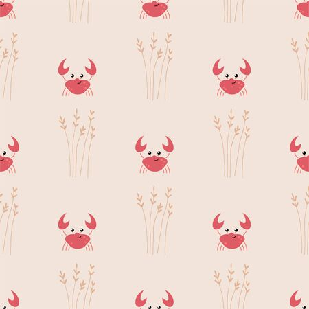 Cute Cartoon Crab. Colored Seamless Vector Patterns in Flat style. Isolated Patterns for notebook, textile, packaging.