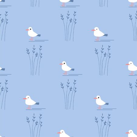 Cute Cartoon Seagull. Colored Seamless Vector Patterns in Flat style. Isolated Patterns for notebook, textile, packaging.