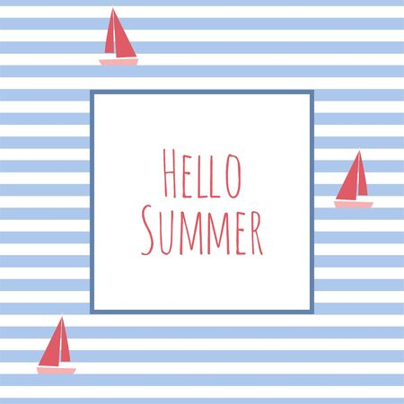 Greeting card or poster with handwritten inscription Hello Summer. Vector Illustration EPS. Isolated Background.