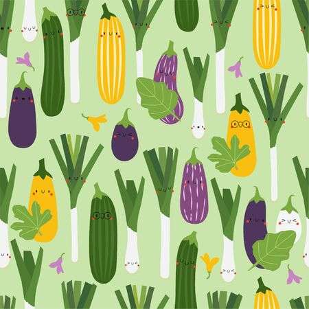 Kawaii Cartoon Aubergine, Zucchini and Leek. Colored Seamless Vector Patterns in Flat style. Isolated Pattern for notebook, textile, packaging.