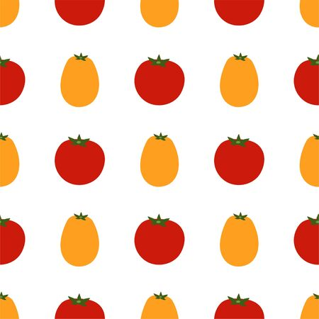 Tomato. Colored Seamless Vector Patterns in Flat style. Isolated Pattern for notebook, textile, packaging.