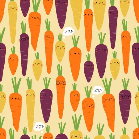Kawaii Cartoon Carrots. Colored Seamless Vector Patterns in Flat style. Isolated Pattern for notebook, textile, packaging.