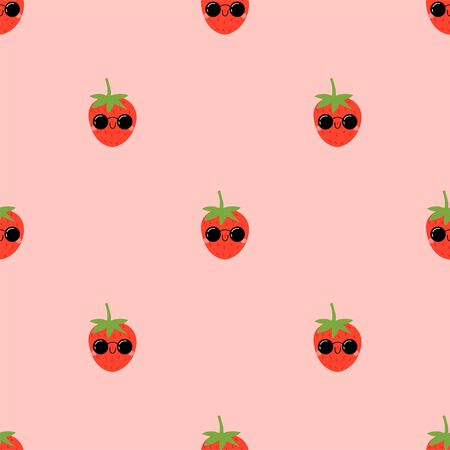 Kawaii Cartoon Strawberry in sunglasses. Colored Seamless Vector Patterns in Flat style. Isolated Pattern for notebook, textile, packaging.