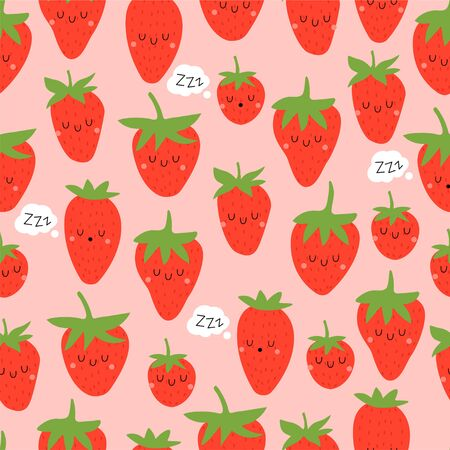 Kawaii Cartoon Sleeping Strawberry. Colored Seamless Vector Patterns in Flat style. Isolated Pattern for notebook, textile, packaging.