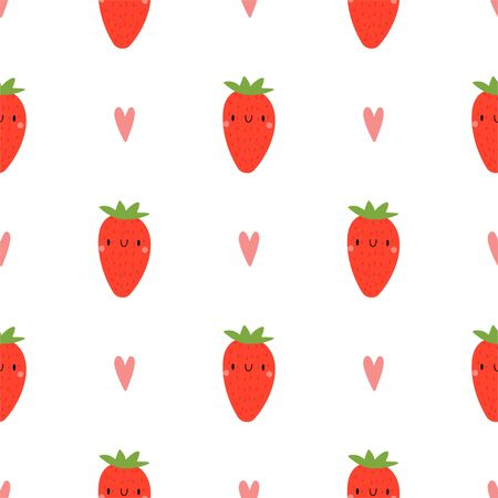 Kawaii Cartoon Strawberry. Colored Seamless Vector Patterns in Flat style. Isolated Pattern for notebook, textile, packaging. Ilustração