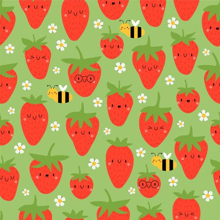 Kawaii Cartoon Strawberry and Bee. Colored Seamless Vector Patterns in Flat style. Isolated Pattern for notebook, textile, packaging. Ilustração